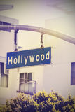 Vintage picture of Hollywood street sign in Hollywood, USA. Royalty Free Stock Images