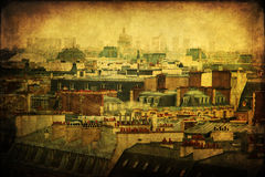 Vintage picture with the roofs of Paris Royalty Free Stock Photos