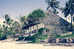 Vintage picture of shop - restaurant on the beach Stock Photos