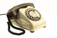 Vintage picture style of new smart phone with old telephone on white background. New communication technology.  stock photos