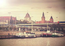 Vintage picture of Szczecin riverside view. Royalty Free Stock Image