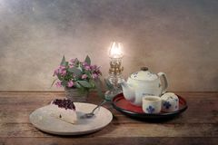 Vintage picture Tea time Stock Images