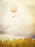 Vintage picture of Tethered aerostat balloon. Stock Photo
