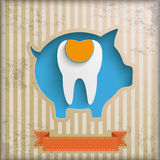 Vintage Piggy Bank Price Stickers Filling Tooth Stock Image
