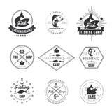 Vintage pike fishing emblems, labels and design Stock Image