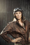 Vintage pilot: fashion model portrait Royalty Free Stock Photo