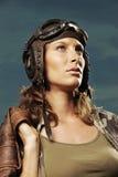Vintage pilot: fashion model portrait Stock Photos