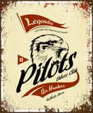 Vintage pilots custom bikes motor club t-shirt vector logo on light background.  Royalty Free Stock Photography