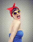 Vintage pin up. Happy pin up girl portrait Stock Photos