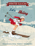 Vintage pin-up girl skiing poster. Winter sport poster in retro style with pin-up girl and titles Royalty Free Stock Photography