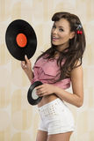 Vintage pin-up loves  music Stock Photo