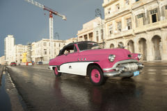 Vintage Pink American Car Taxi Havana Cuba Royalty Free Stock Photography