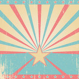 Vintage pink and blue background. Vintage pink and blue vector grunge background with stars. Retro burst Stock Image