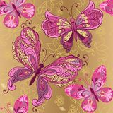 Vintage pink butterfly on a gold background seamless pattern. Decorative ornament backdrop for fabric, textile, wrapping. Paper. Vector illustration Royalty Free Stock Image