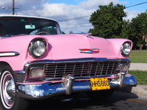 Vintage Pink Car In Havana Cuba Royalty Free Stock Photo