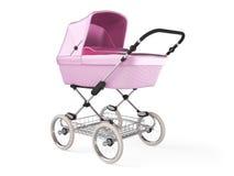 Vintage pink color design baby stroller. 3d render Stock Photography
