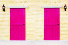 A vintage pink couple doors Royalty Free Stock Photo