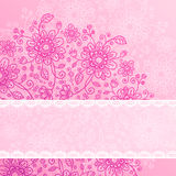 Vintage pink flowers background with lacy ribbon Royalty Free Stock Image