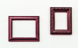 Vintage pink frame on old and dirty gray concrete wall Royalty Free Stock Images