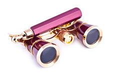 Vintage pink and golden opera glasses Stock Photos