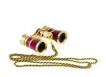 Vintage pink and golden opera glasses isolated. Vintage pink and golden opera glasses Royalty Free Stock Images