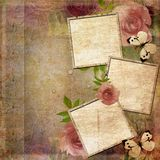 Vintage pink and green background with frames Royalty Free Stock Photo