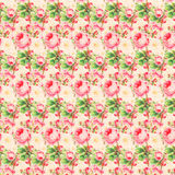 Vintage Pink and Green Rose Pattern Background Stock Photos