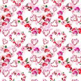 Vintage Pink hearts flowers wreath with watercolor roses seamless pattern on white background. stock illustration