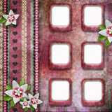 Vintage pink photo frames Royalty Free Stock Images