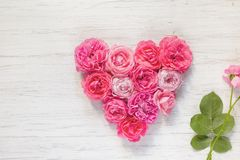 Vintage pink rose flowers in the shape of a heart and a branch on a wooden background. Flat lay stock image
