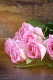 Vintage Pink Roses on Dark Wood Background. Stock Images