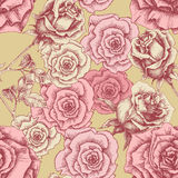Vintage pink roses pattern Royalty Free Stock Images