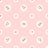 Vintage pink seamless pattern with strawberries and polka dots Royalty Free Stock Images