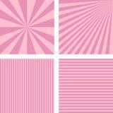 Vintage pink simple striped background set Stock Images