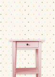 Vintage pink wooden chest drawer near vintage dots wall. Stock Images