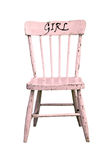 Vintage pink wooden child's chair Royalty Free Stock Images