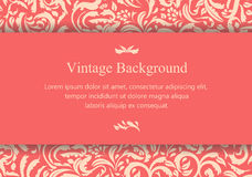 Vintage pinkish card with floral ornament Stock Photos