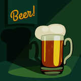 Vintage pint of beer. Cartoon mug/glass of beer template. vector illustration Royalty Free Stock Images