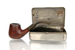 Vintage pipe with shag box isolated in white Stock Photo