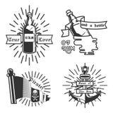 Vintage pirate emblems Stock Photos