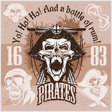Vintage Pirate Labels or Design Elements With Retro Textures. Royalty Free Stock Images