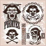 Vintage Pirate Labels or Design Elements With Retro Textures. Royalty Free Stock Image