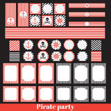 Vintage pirate party elements Stock Photography