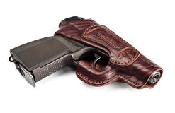 Vintage pistol in leather holster Stock Photo