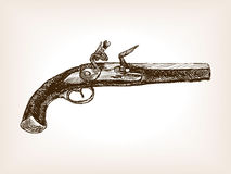Vintage pistol sketch style vector illustration Royalty Free Stock Photos