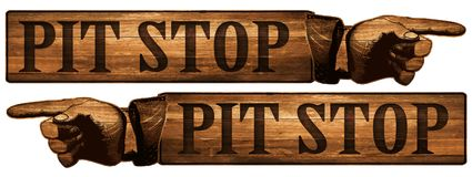 Vintage Pit Stop Sign Pointing Finger Royalty Free Stock Photos