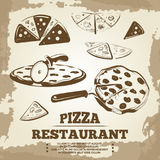 Vintage pizza elements for cafe, restaurant, bar or delivery Royalty Free Stock Photo