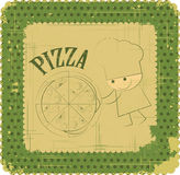 Vintage Pizza Menu Card Design with chef Stock Photos