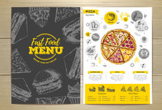 Vintage pizza menu design. Royalty Free Stock Photos