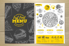 Vintage pizza menu design. Stock Photography